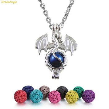 GraceAngie Dragon Skull Angel Horse Dolphin Bear Mermaid Shape Trendy Necklace With 6PCS Lava Rock Beads Velvet Bag Cute Jewelry