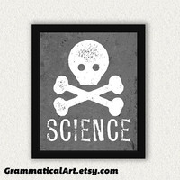 Skull Science 11x14 Print - Perfect Science Gift for Your Favorite Scientist, Chemist, Teacher, Friend