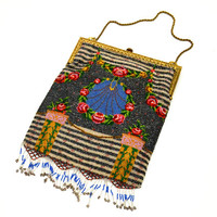 Stunning Antique Beaded Purse, Floral Wreath Medallion and Pillars, Beaded Fringe, Metal Frame and Chain Strap, circa 1910s