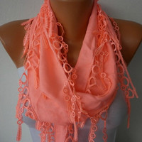 Coral Scarf    Pashmina Scarf   Headband Necklace Cowl by fatwoman
