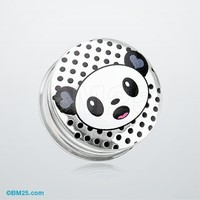 Adorable Baby Panda Clear UV Double Flared Ear Gauge Plug