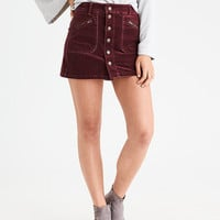 AEO Button-Front Corduroy Skirt, Red