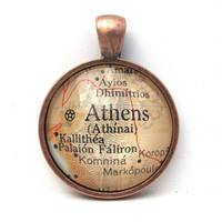 Vintage Map Pendant of Athens Greece in Glass by CarpeDiemHandmade