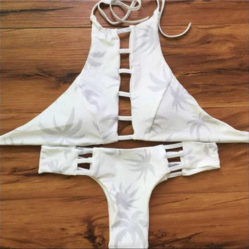 Bae Reversible High Neck Halter Cut Out Hollowed Out Cheeky Brazilian Bikini (2 piece) Set in Ivory Palm Tree Print