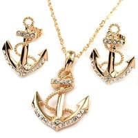 FC Rose Gold Plated Anchor Necklace Earring Studs Jewelry Set