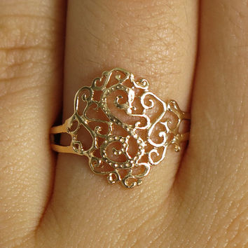 gold ring, gold band ring, lace ring, filigree ring, gold lace ring, modern ring, gold wide ring, delicate ring , dainty ring