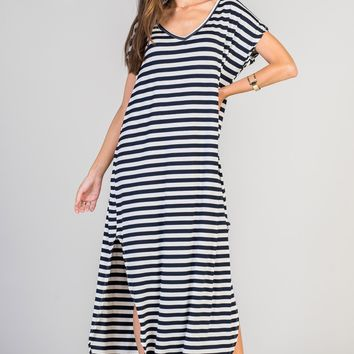 Abigail Navy Striped T-Shirt Maxi