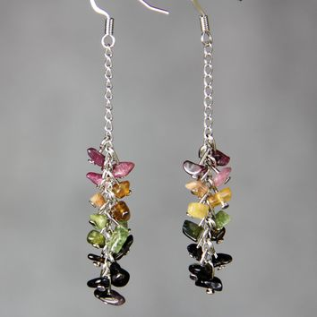 Stone chips Linear long dangling Earrings Bridesmaid gifts Free US Shipping handmade Anni designs