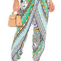 Camilla Wrap Front Trouser in Everlasting Udaipur | REVOLVE