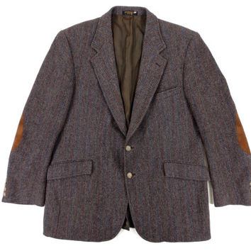 Brown Tweed Sport Coat with Elbow Patches - Herringbone Striped Blazer Jacket Ivy League Menswear - Size 44 Reg Large Lrg L