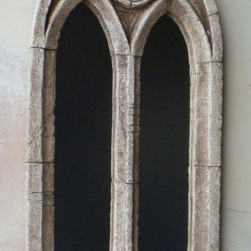 Gothic church mirror,two arch,.antique window frame,22 inches high,gothic home decor.