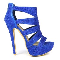 Celeste Sheri-01 Cut-out Detailed Dress Pump in Blue @ ippolitan.com