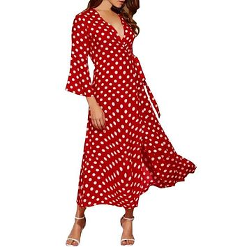 Womens Elegant Bohemian Summer Skater Dress Autumn Half Wave Red Point Printed Bodycon Boho Asymmetrical Party Dress