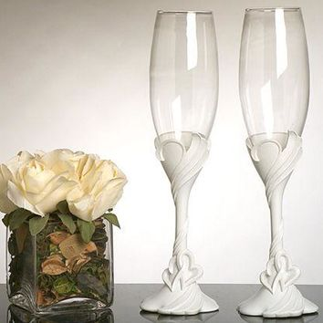 Two Hearts Become One Toasting Glasses