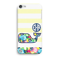 Yellow Stripe Personalized Monogram Inspired Lilly Pulitzer And Vineyard Vines iPod Touch 5 Case, iTouch 4 Case