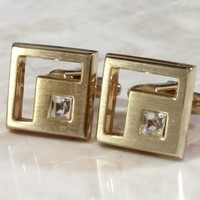 Vintage Cufflinks Gold Square Cufflinks Hickok USA Clear Rhinestone Cufflinks for Guy or Gal  Classic Classy Design 5/8 Inch Square Nice!