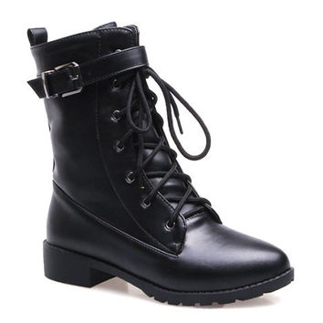 Black Flat Heel Buckle and Lace Up Closure Boots