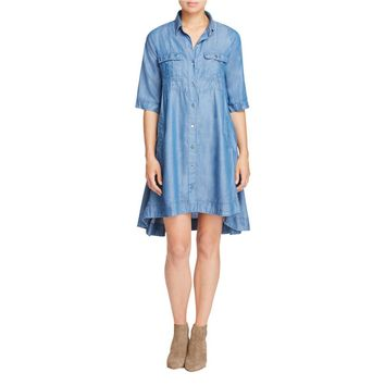 4Our Dreamers Womens Denim Button-Down Casual Dress