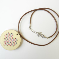 Gift for Her Woman, Heart Wooden Embroidery Necklace, Statement Necklace, Girlfriend Gift, Hand Embroidered Necklace, Pastel Color, Medium