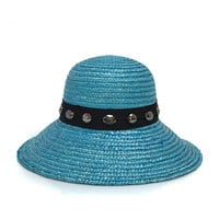 Turquoise Wheat Straw Downturn Wide Jeweled Brim Hat