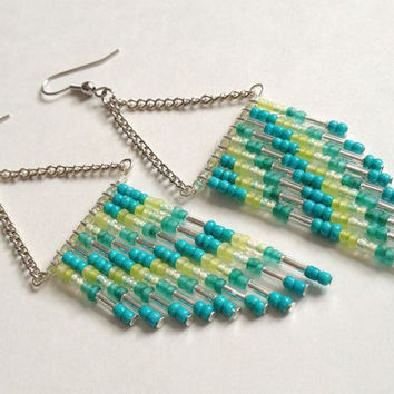 70's Inspired Teal Earrings
