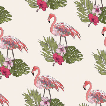 Flamingos on Palms Removable Wallpaper