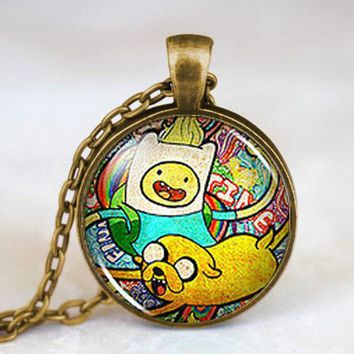 Steampunk Adventure Time Finn & Jake Cartoon Pendant Necklace glass 1pcs/lot mens handmade new jewelry dr who chain 2017 vintage