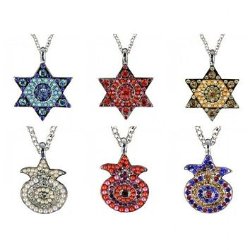 Crystal Beaded Jewish Symbol Jewelry Necklaces