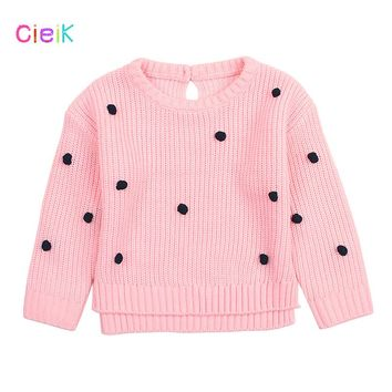 CieiK Baby Girl Knitted Sweaters For Kids Black Dot 2018 Spring Newborn Cute Cardigan Winter Children Clothing Infant Pullover