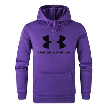 Under Armour Fashion Men Women Casual Print Long Sleeve Sweatshirt Hooded Sweater Top Purple