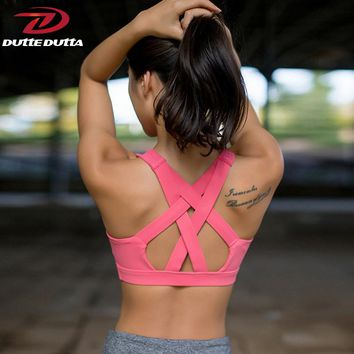 DutteDutta Sexy Cross Straps Sports Bra Top Women Sport Clothing Yoga Bras Fitness Padded Sports Top Athletic Running Underwear
