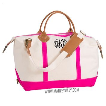 Monogrammed Hot Pink Sunshine Satchel Duffel Bag | Marley Lilly