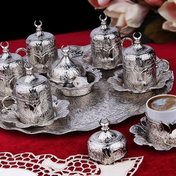 Ottoman Turkish Greek Arabic Coffee Espresso Guest Serving Cup Saucer Set by ...
