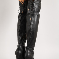 Lace Up Back Collar Stiletto Thigh High Boot