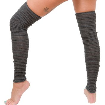 Thigh High Leg Warmers Stretch Knit Shadow Stripe KD dance New York Made In USA