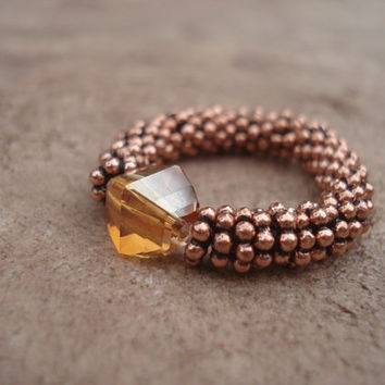 Stretch Ring with Copper  Swarovski Crystal and Antique Copper Daisy Shape Beads, For Her