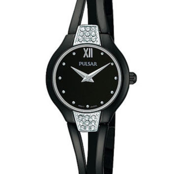 Pulsar Swarovski Crystal Ladies Watch - Black Dial, Case & Bangle-Style Bracelet