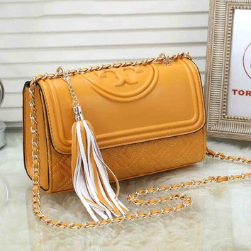 Tory Burch Women Shopping Leather Crossbody Shoulder Bag Satchel Yellow