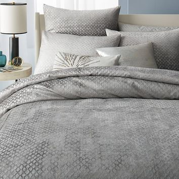 COTTON LUSTER VELVET DIAMOND DUVET COVER + SHAMS