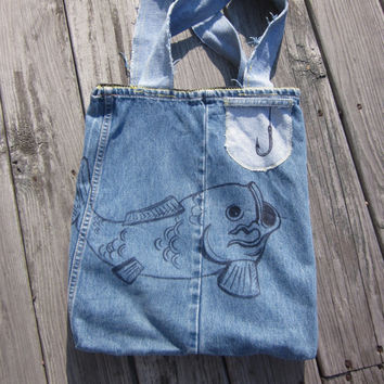 Upcycled Denim Book Bag Hand Drawn Tattoo Koi Fish Nautical Beach Bag Back to School Hipster Distressed Colorblock Eco Tote Bag