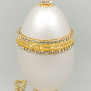 Shimmering White Jewelry Box with Blue Topaz Trim Ring Box Display Box Faberge Style Decorated Goose Egg Ornament Egg Art