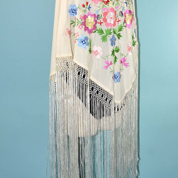 Vintage 70s Embroidered Fringe Piano Shawl Boho Hippie Gypsy Goddess Shawl Wrap Festival Shawl