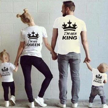 King Queen Shirt for Matching Women Mother Ladies Merry Christmas T Shirts Big Size Summer Fashion Loose Casual Cute Tees Top