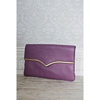 Vintage 1980s Chic + Ultraviolet Envelope Clutch Bag
