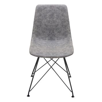 Set of Four Theo Dining Chairs in Steel Grey PU with Powder Coated Metal Frame