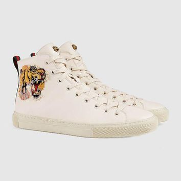 Italy Luxury Brand Gucci Men's Shoes High Tiger Head Embroidery Sneakers Men Sports Shoes TrainersShoes Genuine Leather with Box