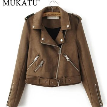 Trendy MUKATU New Fashion Women suede motorcycle jacket Slim brown full lined soft faux Leather female coat epaulet zipper AT_94_13