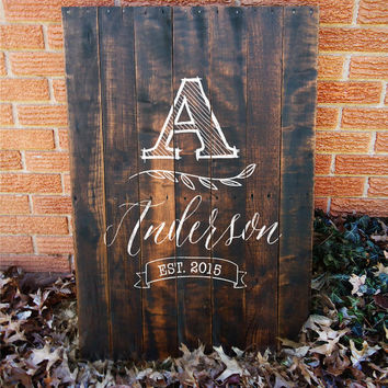 Reclaimed, Personalized Family Name Sign | Rustic Personalized Sign, Engagement Present, Family Established Sign, Wedding Sign