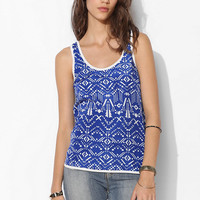 Lucca Couture Knit-Back Chiffon Tank Top - Urban Outfitters