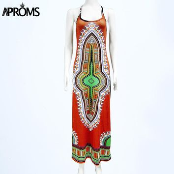 Women Casual Halter Neck Dashiki Print Long Dresses Sexy Hippie Sundresses